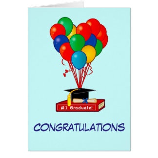 Graduation Congratulations Book, Balloons, Diploma Card