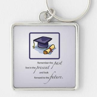 Graduation Congratulations Remember the Past Silver-Colored Square Keychain