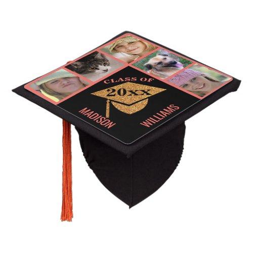 Graduation Coral Pink Gold Celebration 5 Photo Graduation Cap Topper