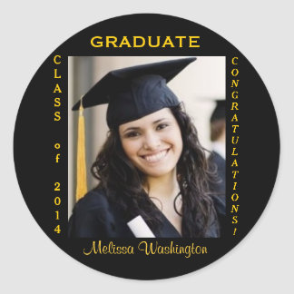 Graduation Custom Photo Gold Round Classic Round Sticker