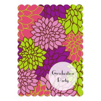 Graduation - Dahlia Flowers - Pink Purple Green Card