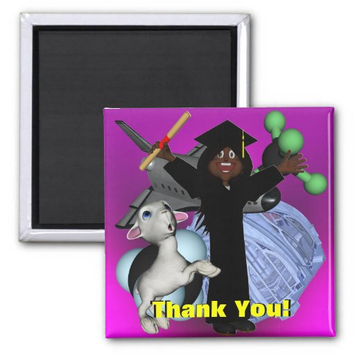 Graduation Day Thank You 2 Inch Square Magnet