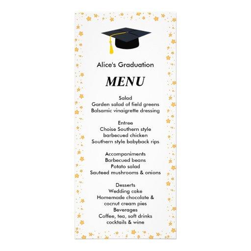 Graduation Dinner Menu Stars Grad Hat Rack Card Zazzle