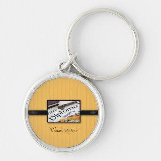 Graduation Diploma, Black, Gold, Round Gift Keychain