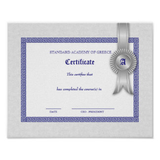 Graduation Diploma Certificate Greek Keys Silver Poster