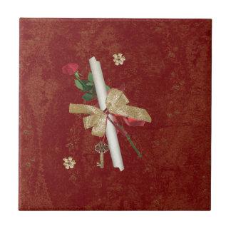 Graduation Diploma, Key, Dots, Vine, Flowers, Rose Ceramic Tile