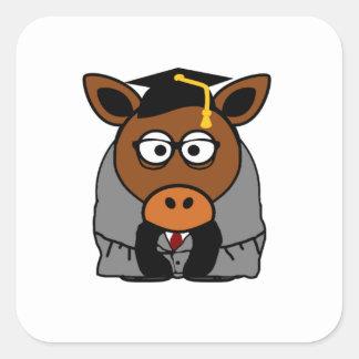Graduation Donkey Cartoon Illustration Square Sticker