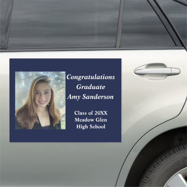 Graduation Drive By Parade Decor Blue and White Car Magnet