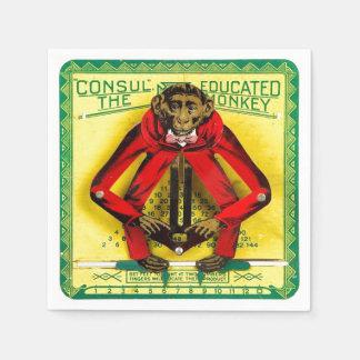Graduation Educated Monkey Vintage Tin Toy Standard Cocktail Napkin