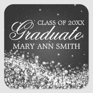Graduation Elegant Sparkling Wave Black Square Sticker