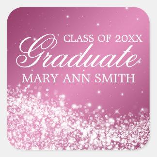 Graduation Elegant Sparkling Wave Pink Stickers