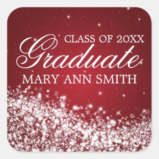 Graduation Elegant Sparkling Wave Red Sticker