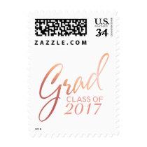 Graduation Faux Foil Blush Gold Rose Script Postage