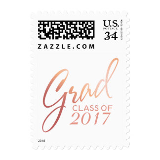 Graduation Faux Foil Blush Gold Rose Script Postage