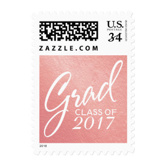 Graduation Faux Foil Blush Rose Handwritten Script Postage