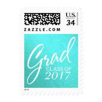 Graduation Faux Foil Teal Handwritten Script Postage