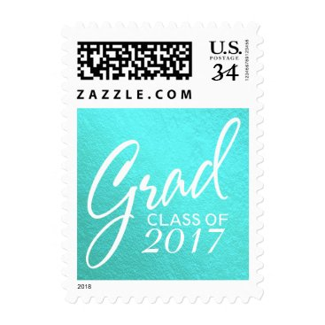 USA Themed Graduation Faux Foil Teal Handwritten Script Postage
