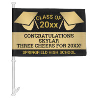 Graduation Faux Gold Cheer Virtual Party Car Flag