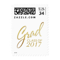 Graduation Faux Gold Foil Elegant Handwritten Postage