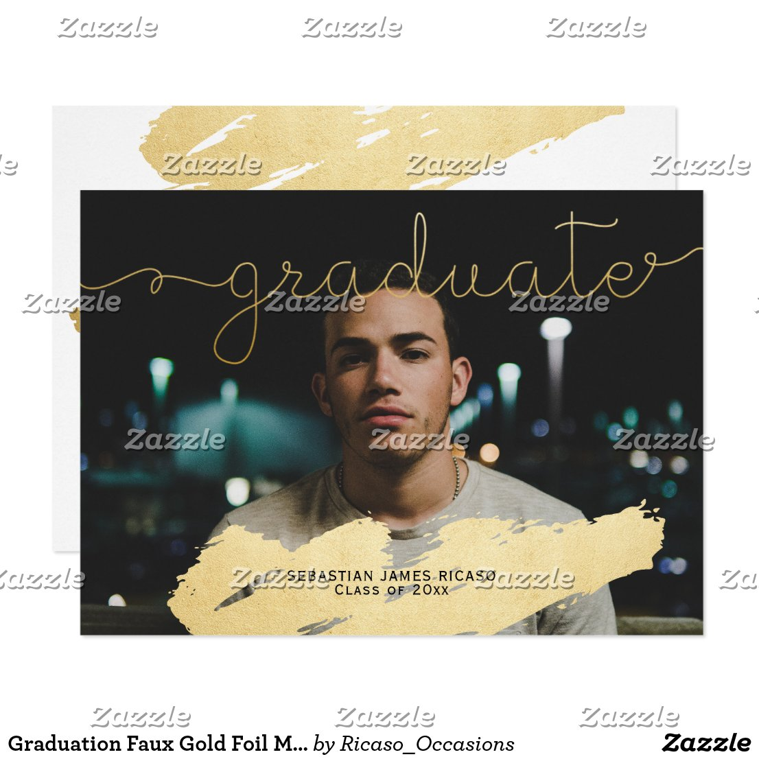 Graduation Faux Gold Foil Modern Personalized Card