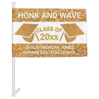 Graduation Faux Gold Honk Virtual Party Car Flag