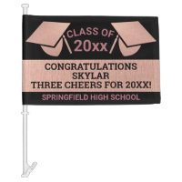 Graduation Faux Rose Gold Cheer Virtual Party Car Flag