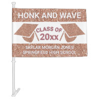 Graduation Faux Rose Gold Honk Virtual Party Car Flag