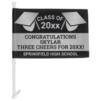 Graduation Faux Silver Cheer Virtual Party Car Flag