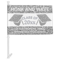 Graduation Faux Silver Honk Virtual Party Car Flag