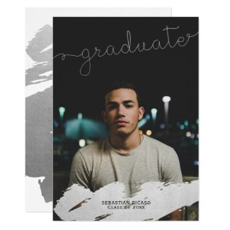 Graduation Faux Silver Modern Personalized Card