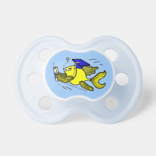 Graduation Fish Graduate funny cute blue pacifier
