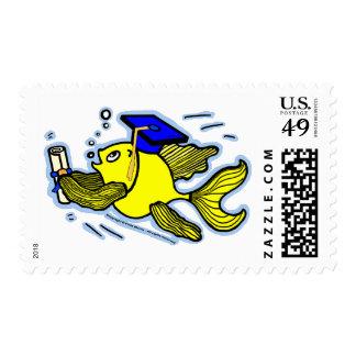 Graduation Fish Graduate funny cute comics stamp