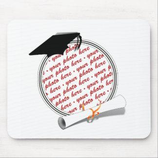 Graduation Frame School Colors  Black & White Mouse Pad