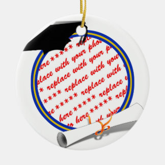Graduation Frame School Colors  Blue and Gold Ceramic Ornament