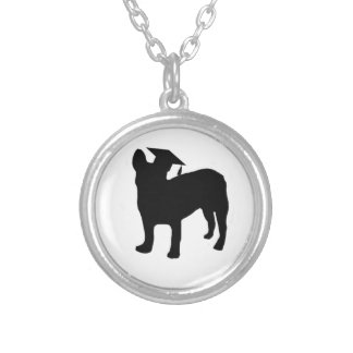 Graduation Frenchie Silver Plated Necklace