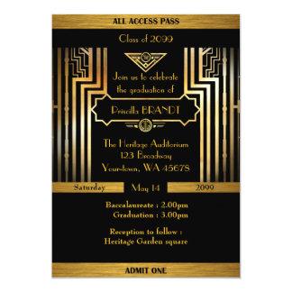 Graduation, Gatsby style, ticket, black gold Card