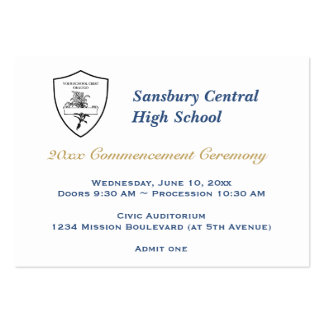 Graduation general admission custom event ticket large business cards (Pack of 100)