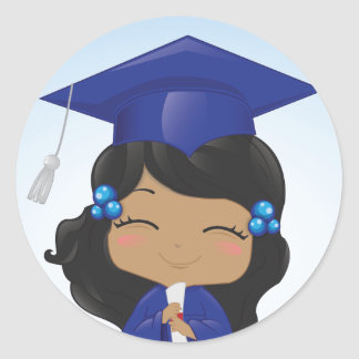 Graduation Girl Classic Round Sticker
