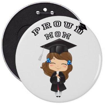 USA Themed Graduation girl in black pinback button