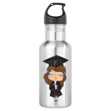 USA Themed Graduation girl in black stainless steel water bottle
