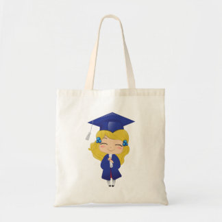 Graduation girl in blue tote bag