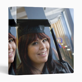Graduation Girl in Cap and Gown 3 Ring Binder