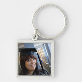 Graduation Girl in Cap and Gown Keychain