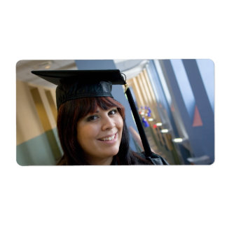 Graduation Girl in Cap and Gown Label