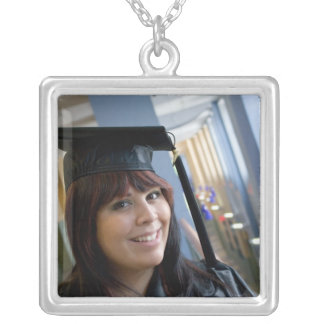Graduation Girl in Cap and Gown Silver Plated Necklace