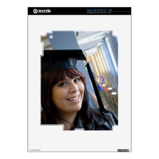 Graduation Girl in Cap and Gown iPad 2 Decals
