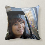 Graduation Girl in Cap and Gown Throw Pillows