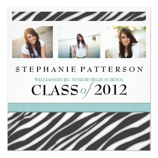 Graduation Glamour Girl Zebra Print with Aqua Personalized Announcements