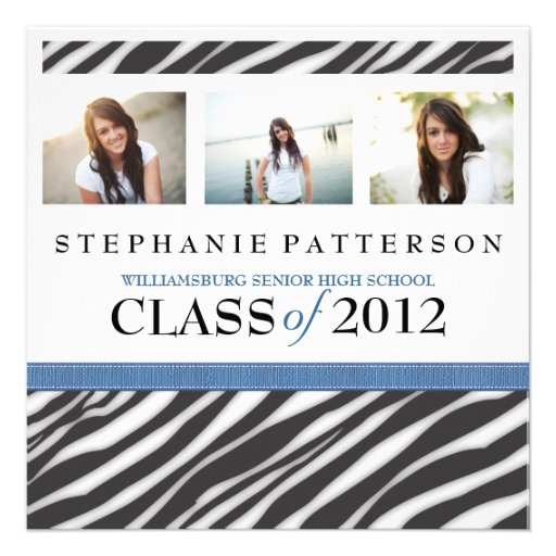 Graduation Glamour Girl Zebra Print with Blue Personalized Announcement