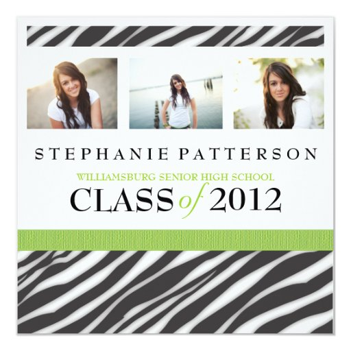 Graduation Glamour Girl Zebra Print with Green Card
